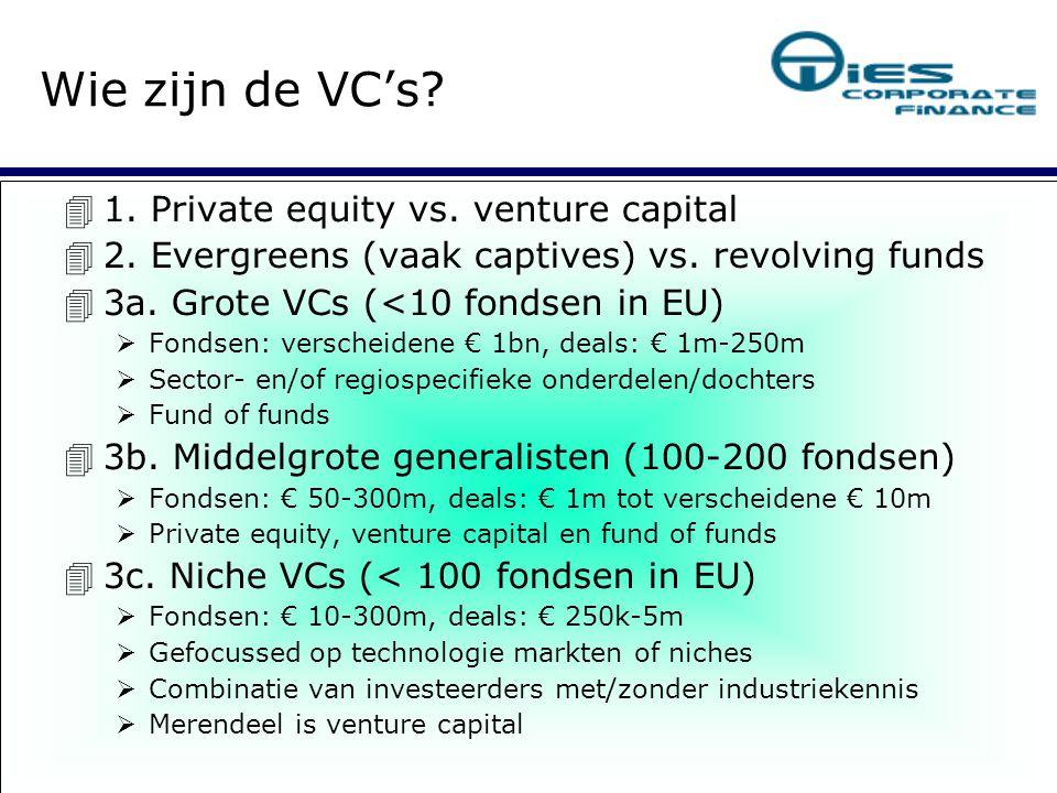 Venture capital (niet EVCA definitie):  < 10% van jaarlijks aangetrokken geld  Jonge bedrijven: seed, start-up, early stage  Grote, wereldwijde lege markten (technologie)   Ervaren entrepreneurs  Return > 50%: € 1m in, 4 jaar later € 5m out Groei Verkoop (trade sale of beursintroductie)  Wat zoeken VC's (I) 
