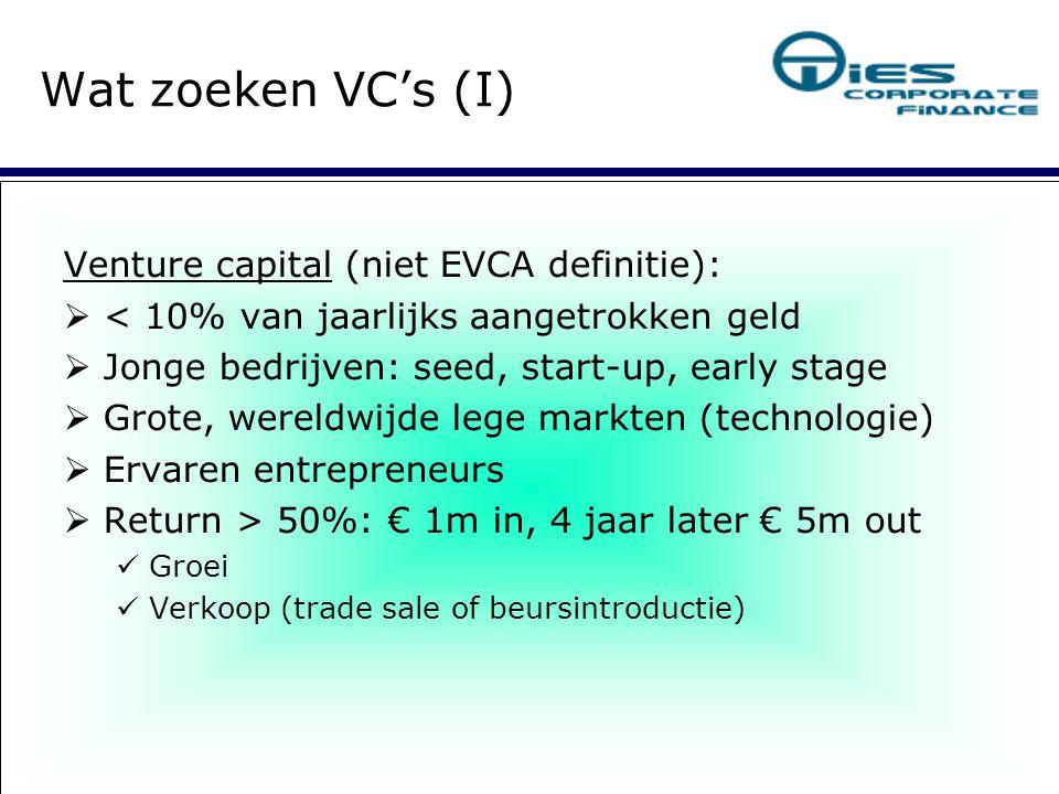 Private equity:  90% (!) van jaarlijks aangetrokken geld  Volwassen ondernemingen met omzet > € 50m  Vaak buy-outs (MBO, MBI, IBO, BIMBO etc.)   Ook: P2P ( public to private ), secondary buy-out  Nauwelijks marktspecialisatie  Rendement > 20%: € 10m in, na 4 jaar € 20m uit Financial engineering Kopen en bouwen Verkoop Wat zoeken VC's.