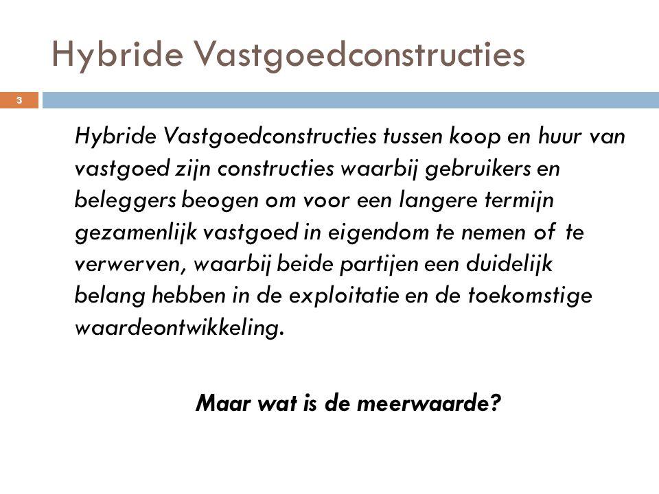 Hybride Vastgoedconstructies Hybride Vastgoedconstructies tussen koop en huur van vastgoed zijn constructies waarbij gebruikers en beleggers beogen om