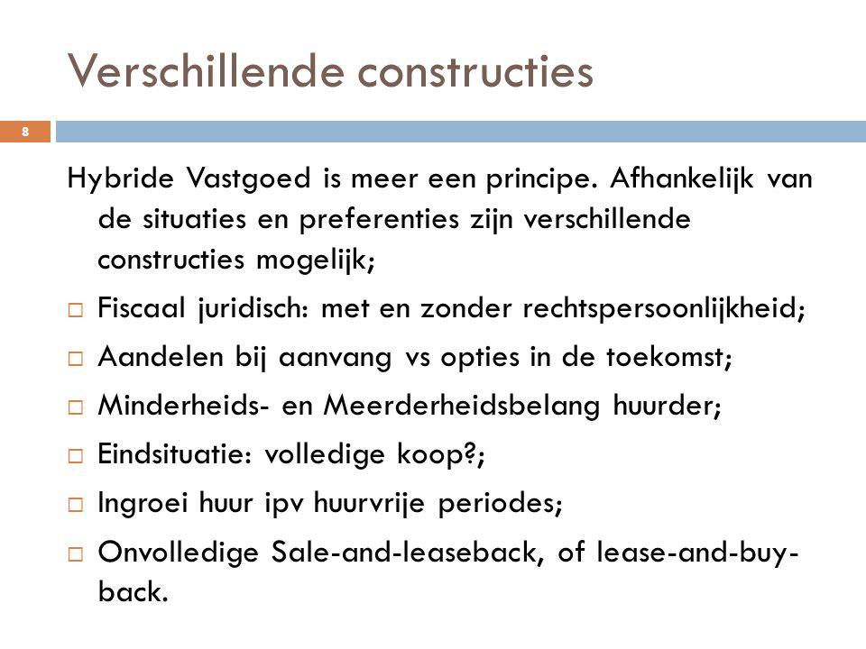 Verschillende constructies 8 Hybride Vastgoed is meer een principe. Afhankelijk van de situaties en preferenties zijn verschillende constructies mogel