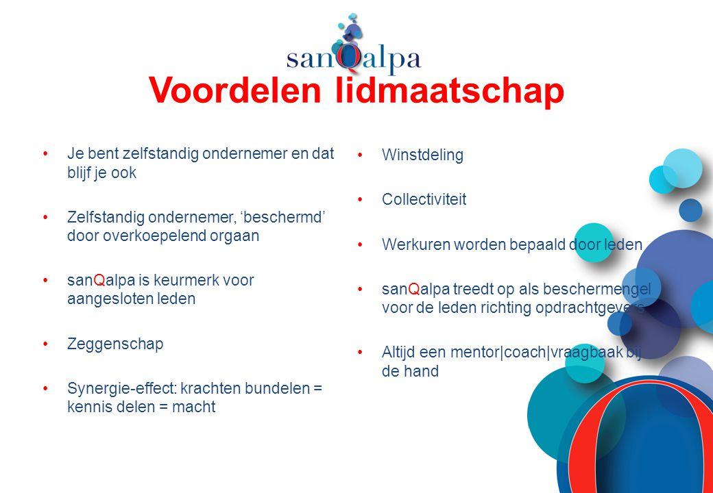 Voordelen lidmaatschap Je bent zelfstandig ondernemer en dat blijf je ook Zelfstandig ondernemer, 'beschermd' door overkoepelend orgaan sanQalpa is ke