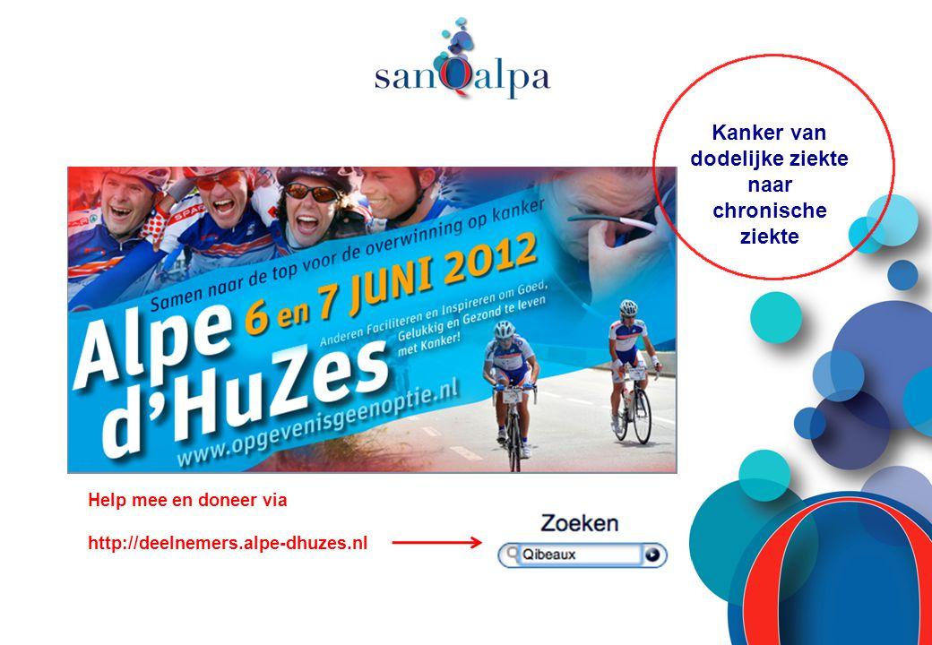 Kanker van dodelijke ziekte naar chronische ziekte Help mee en doneer via http://deelnemers.alpe-dhuzes.nl
