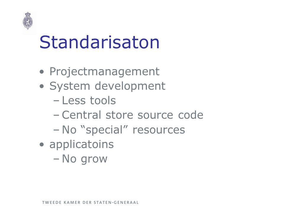Standarisaton Projectmanagement System development –Less tools –Central store source code –No special resources applicatoins –No grow