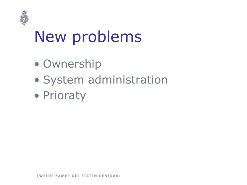 New problems Ownership System administration Prioraty