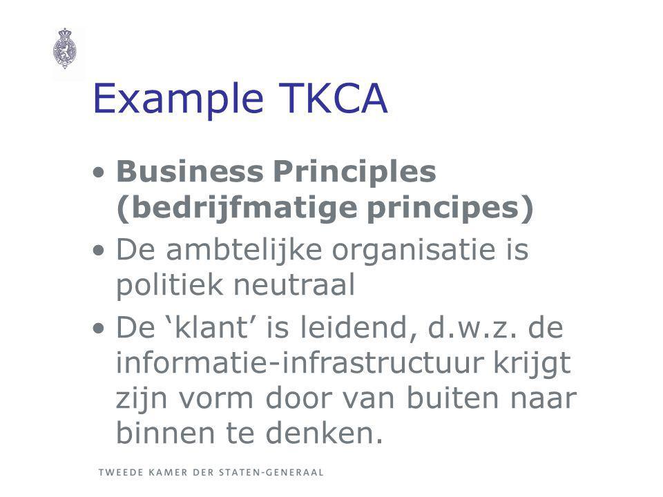 Example TKCA Business Principles (bedrijfmatige principes) De ambtelijke organisatie is politiek neutraal De 'klant' is leidend, d.w.z.