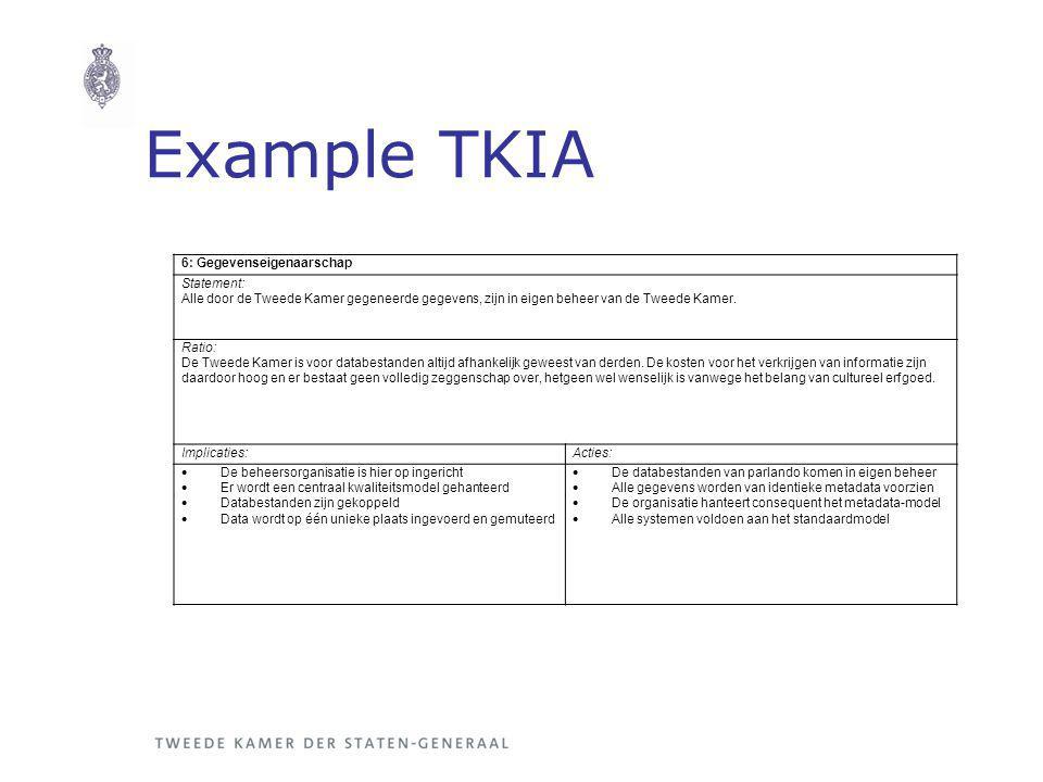 Example TKIA 6: Gegevenseigenaarschap Statement: Alle door de Tweede Kamer gegeneerde gegevens, zijn in eigen beheer van de Tweede Kamer.