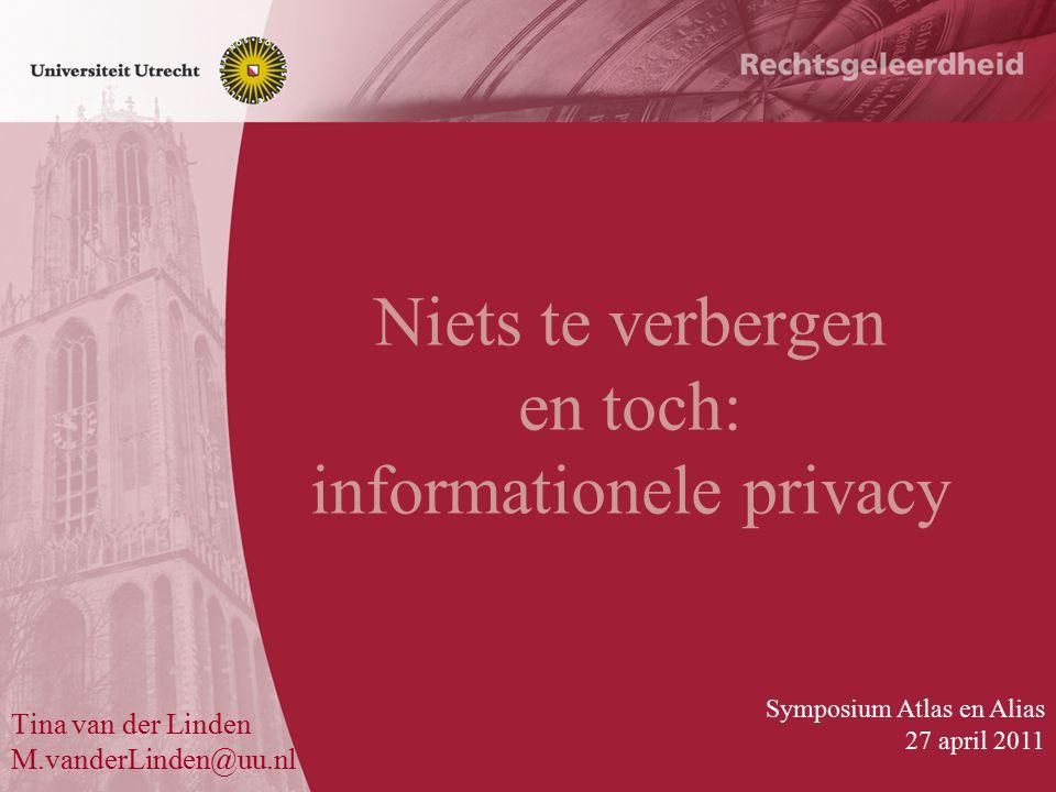 Niets te verbergen en toch: informationele privacy Tina van der Linden M.vanderLinden@uu.nl Symposium Atlas en Alias 27 april 2011