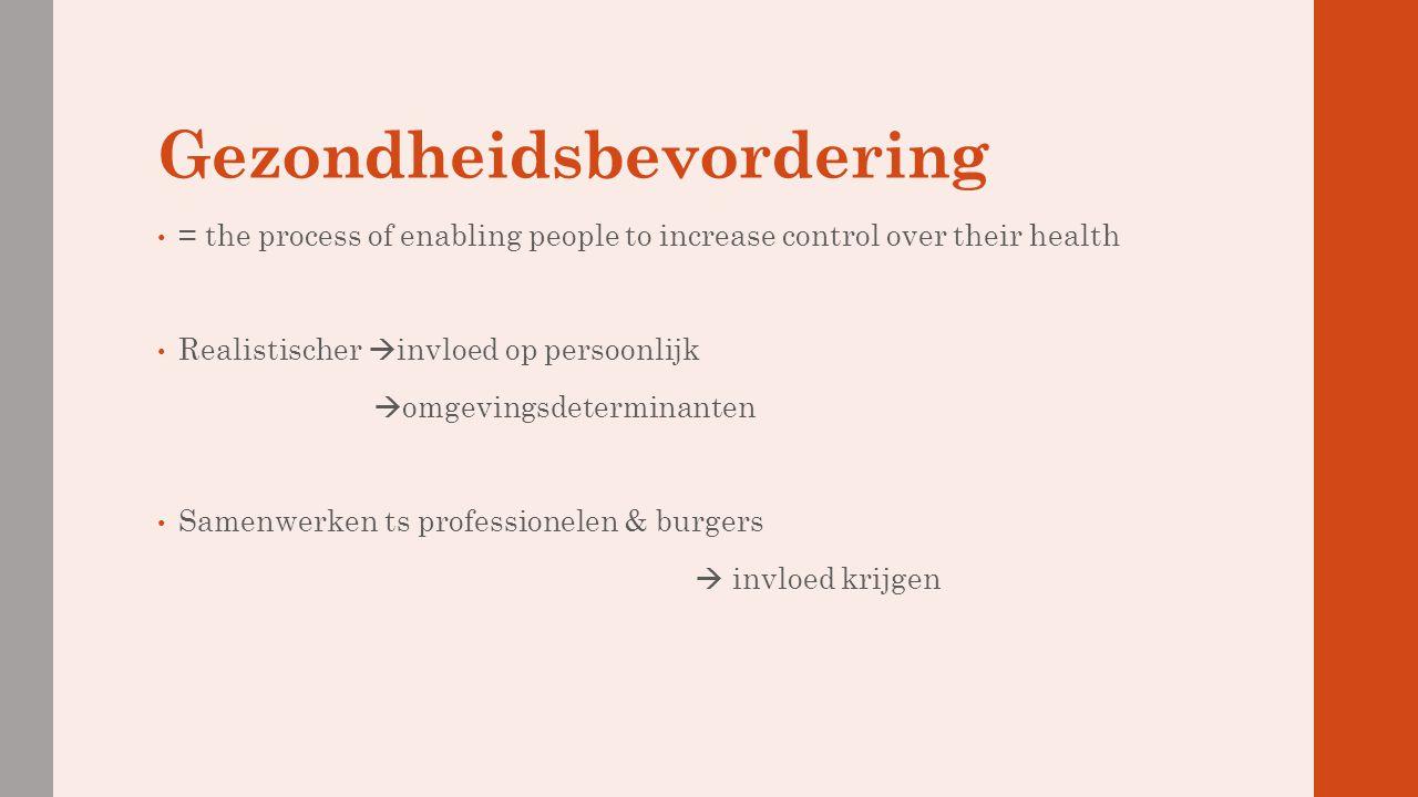 Gezondheidsbevordering = the process of enabling people to increase control over their health Realistischer  invloed op persoonlijk  omgevingsdeterm
