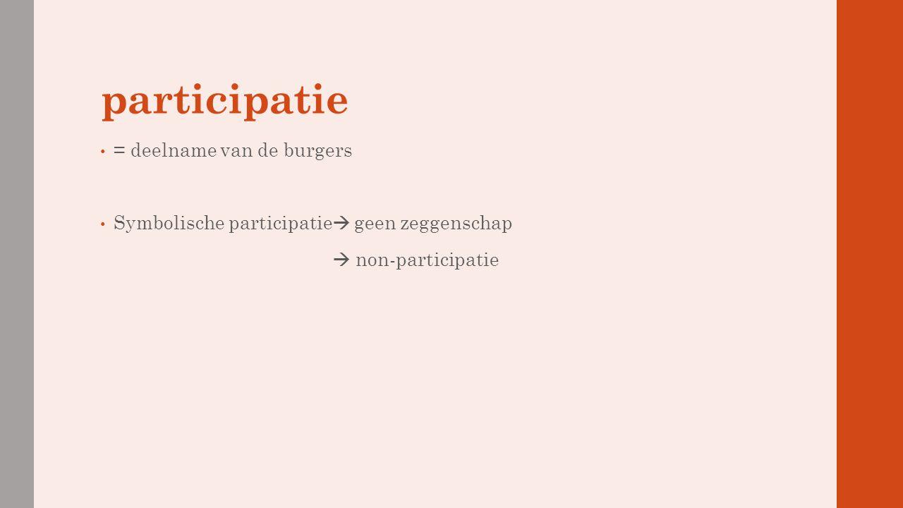 participatie = deelname van de burgers Symbolische participatie  geen zeggenschap  non-participatie