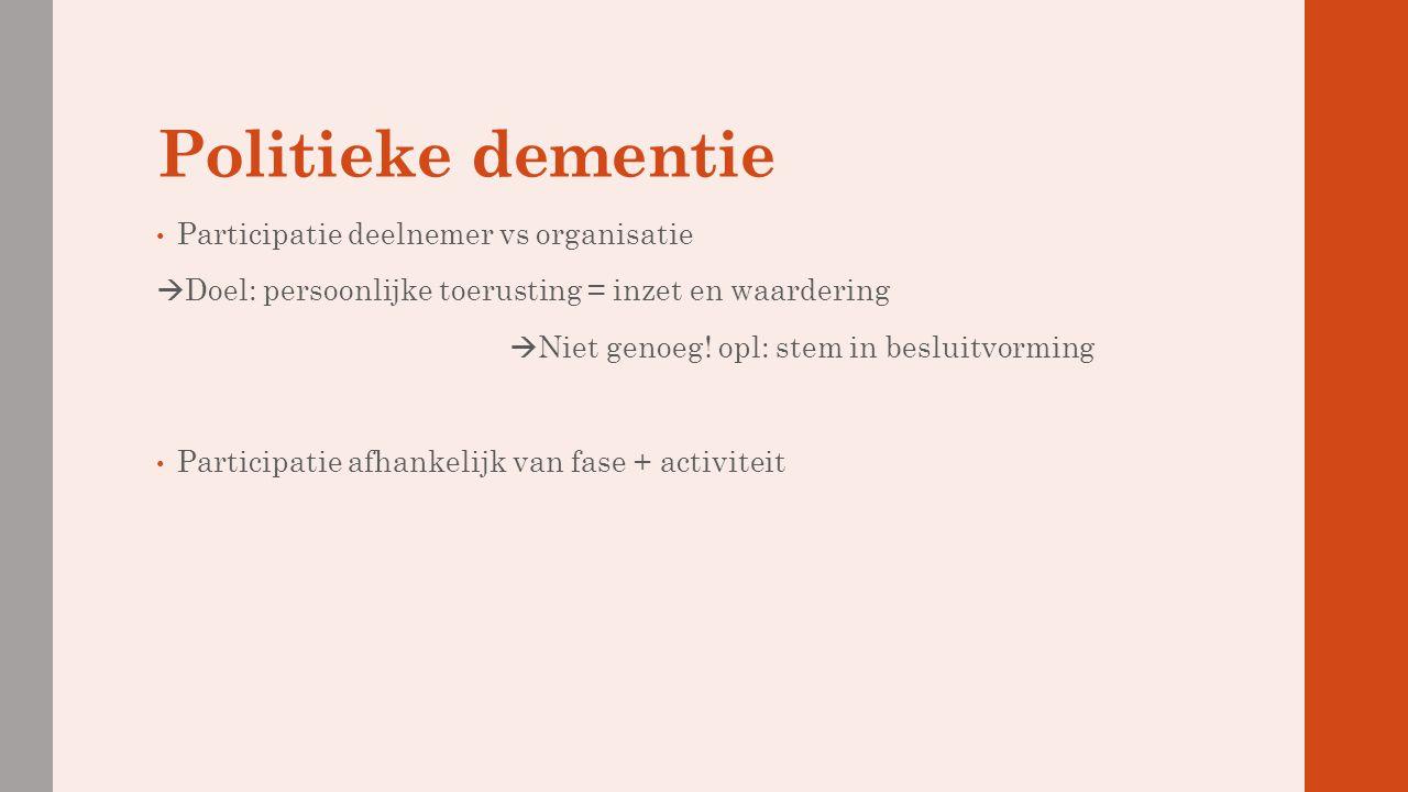 Politieke dementie Participatie deelnemer vs organisatie  Doel: persoonlijke toerusting = inzet en waardering  Niet genoeg! opl: stem in besluitvorm