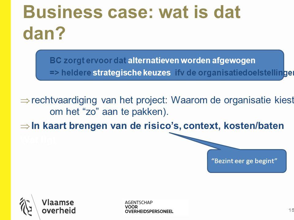 Business case: wat is dat dan? 15 BC zorgt ervoor dat alternatieven worden afgewogen => heldere strategische keuzes ifv de organisatiedoelstellingen 