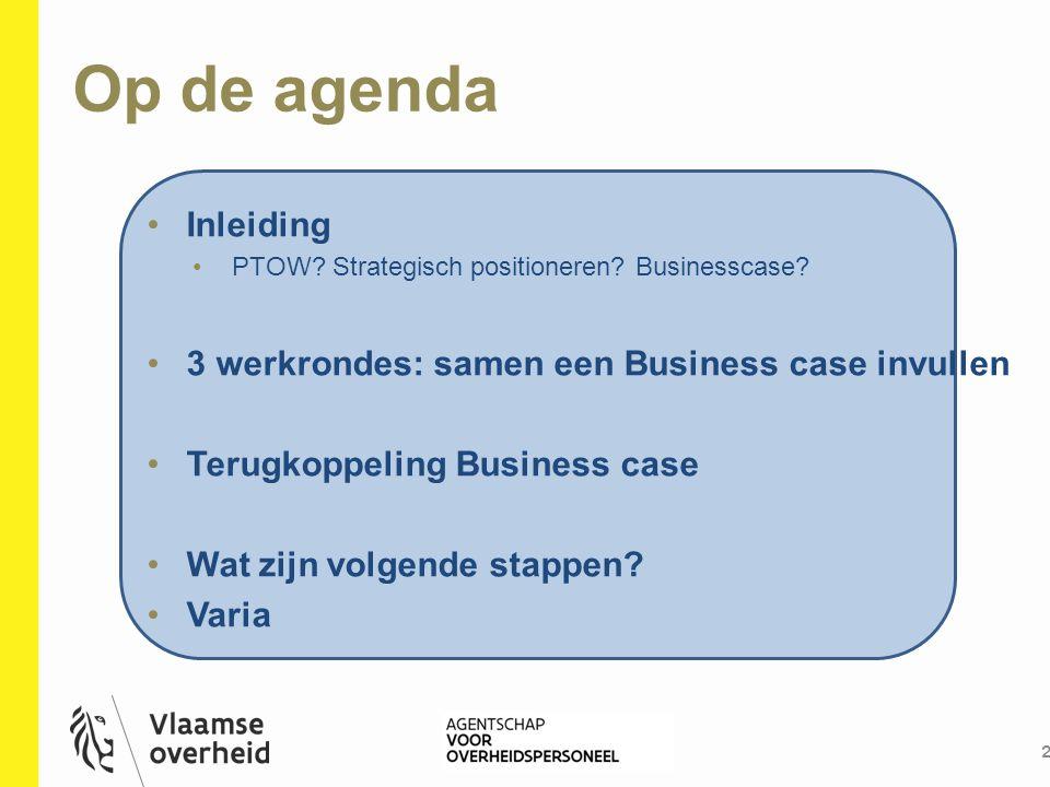 Op de agenda 2 Inleiding PTOW? Strategisch positioneren? Businesscase? 3 werkrondes: samen een Business case invullen Terugkoppeling Business case Wat
