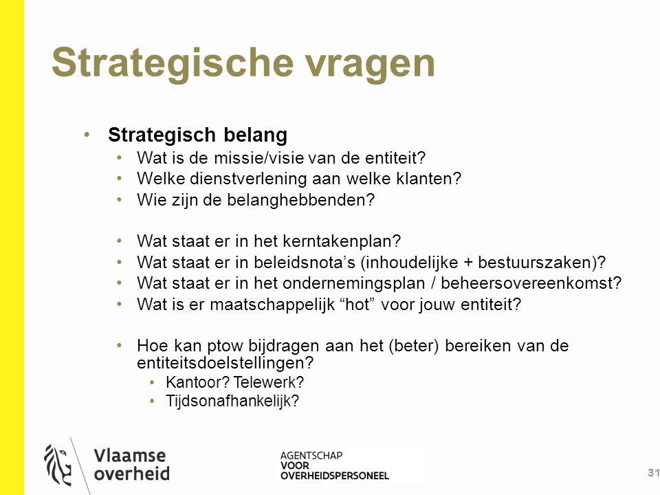Strategische vragen 31 Strategisch belang Wat is de missie/visie van de entiteit? Welke dienstverlening aan welke klanten? Wie zijn de belanghebbenden