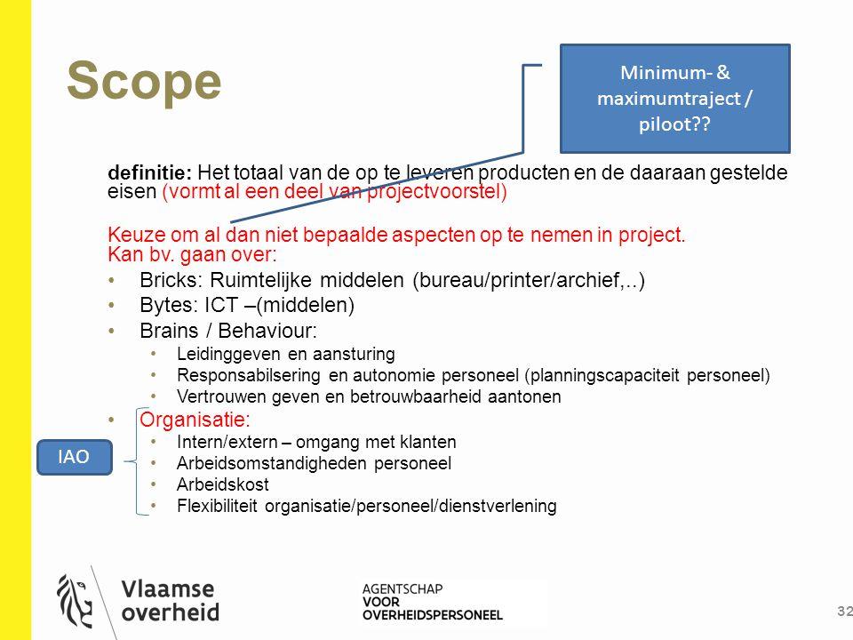 Scope 32 definitie: Het totaal van de op te leveren producten en de daaraan gestelde eisen (vormt al een deel van projectvoorstel) Keuze om al dan nie