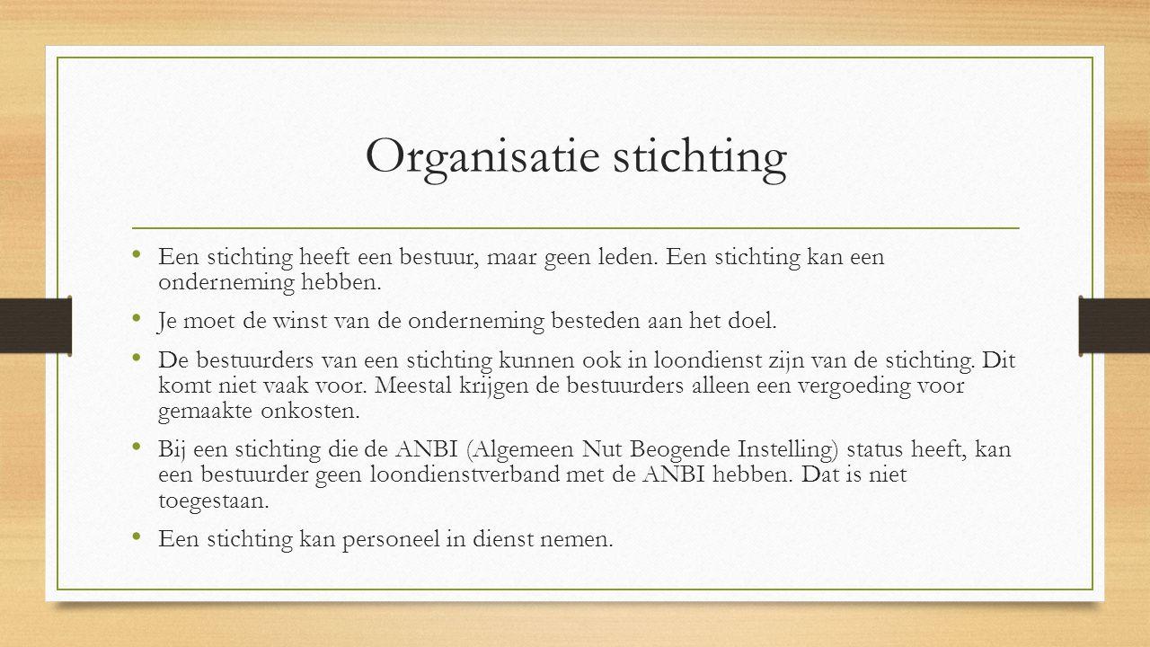 Organisatie stichting Een stichting heeft een bestuur, maar geen leden.