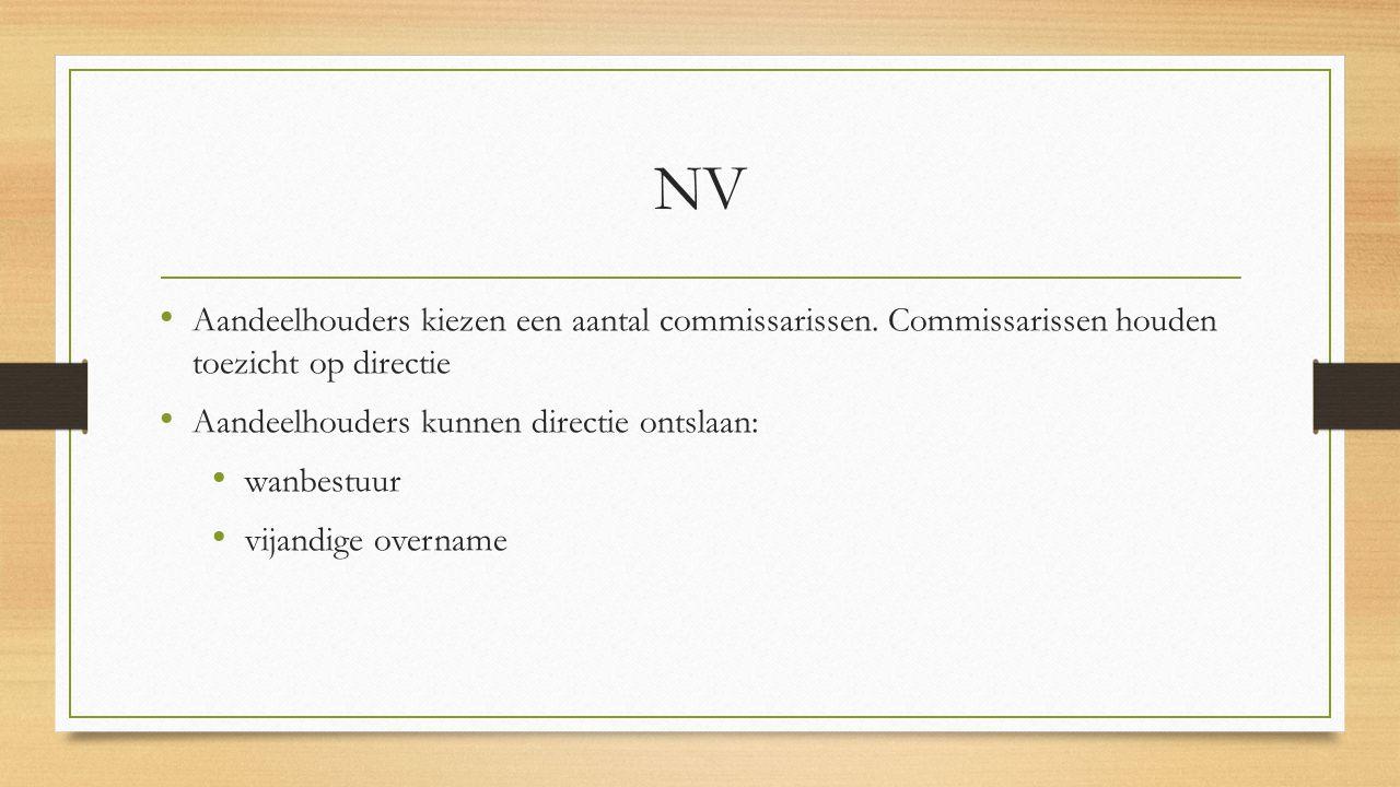 NV Aandeelhouders kiezen een aantal commissarissen. Commissarissen houden toezicht op directie Aandeelhouders kunnen directie ontslaan: wanbestuur vij