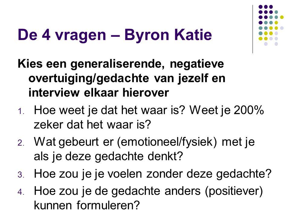 De 4 vragen – Byron Katie Kies een generaliserende, negatieve overtuiging/gedachte van jezelf en interview elkaar hierover 1. Hoe weet je dat het waar