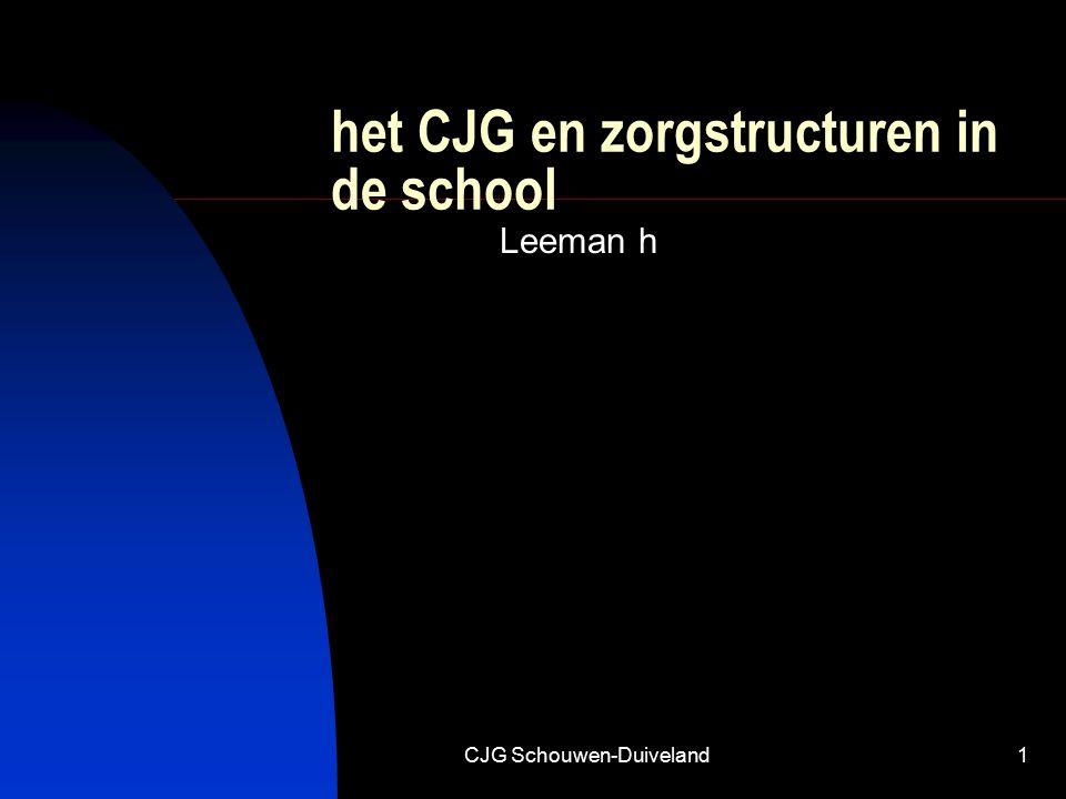 CJG Schouwen-Duiveland1 het CJG en zorgstructuren in de school Leeman h