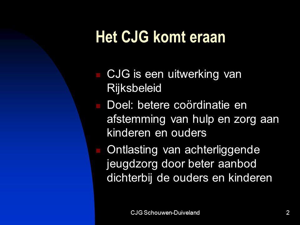 CJG Schouwen-Duiveland2 Het CJG komt eraan CJG is een uitwerking van Rijksbeleid Doel: betere coördinatie en afstemming van hulp en zorg aan kinderen en ouders Ontlasting van achterliggende jeugdzorg door beter aanbod dichterbij de ouders en kinderen