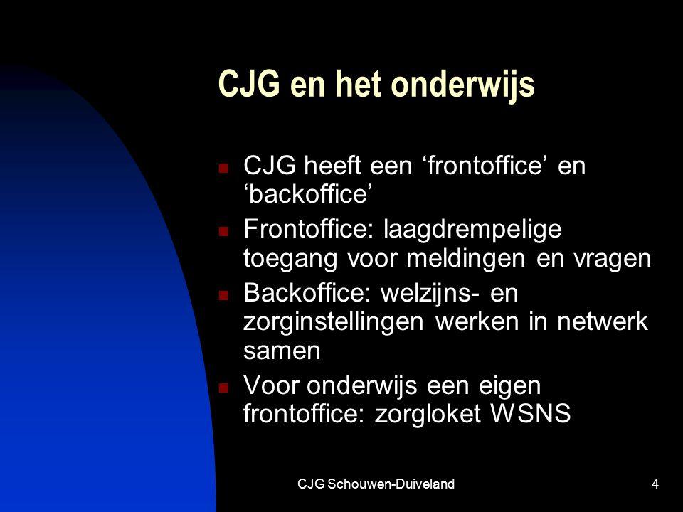 CJG Schouwen-Duiveland4 CJG en het onderwijs CJG heeft een 'frontoffice' en 'backoffice' Frontoffice: laagdrempelige toegang voor meldingen en vragen Backoffice: welzijns- en zorginstellingen werken in netwerk samen Voor onderwijs een eigen frontoffice: zorgloket WSNS