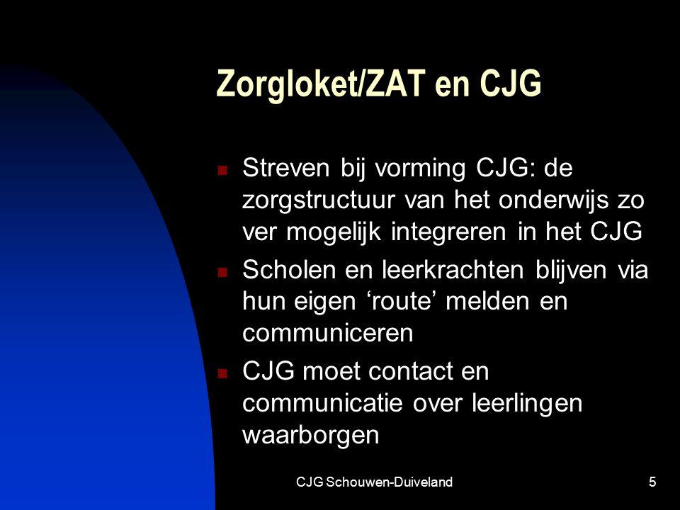 CJG Schouwen-Duiveland5 Zorgloket/ZAT en CJG Streven bij vorming CJG: de zorgstructuur van het onderwijs zo ver mogelijk integreren in het CJG Scholen en leerkrachten blijven via hun eigen 'route' melden en communiceren CJG moet contact en communicatie over leerlingen waarborgen