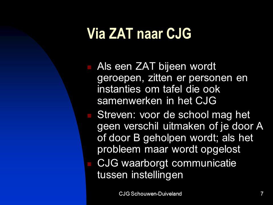 CJG Schouwen-Duiveland7 Via ZAT naar CJG Als een ZAT bijeen wordt geroepen, zitten er personen en instanties om tafel die ook samenwerken in het CJG S