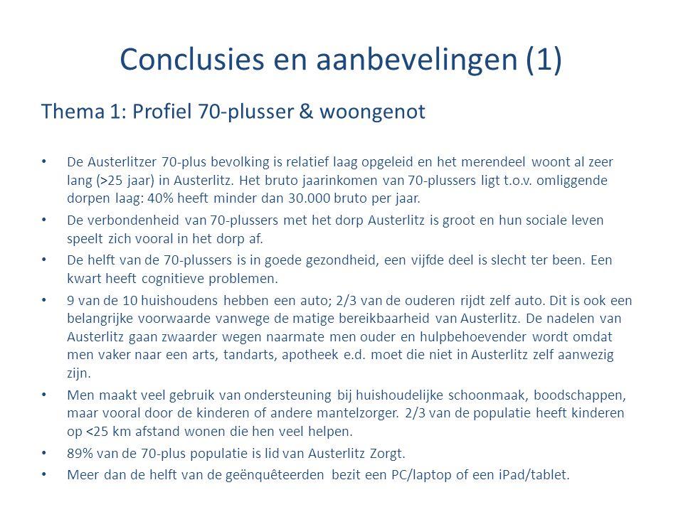 Conclusies en aanbevelingen (1) Thema 1: Profiel 70-plusser & woongenot De Austerlitzer 70-plus bevolking is relatief laag opgeleid en het merendeel w