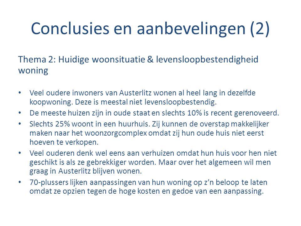 Conclusies en aanbevelingen (2) Thema 2: Huidige woonsituatie & levensloopbestendigheid woning Veel oudere inwoners van Austerlitz wonen al heel lang