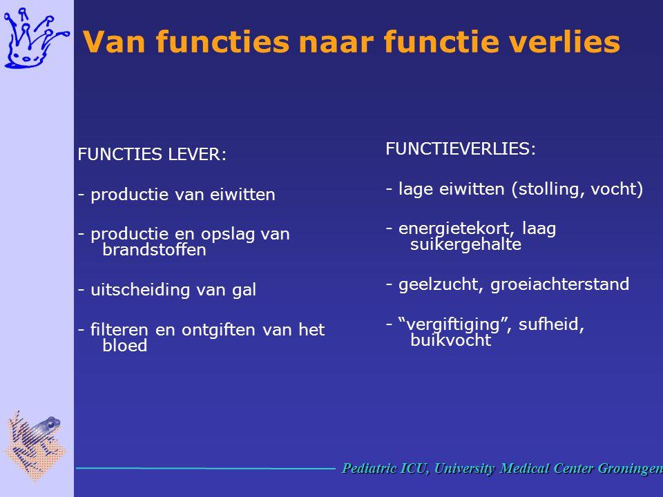 FUNCTIES LEVER: - productie van eiwitten - productie en opslag van brandstoffen - uitscheiding van gal - filteren en ontgiften van het bloed FUNCTIEVE