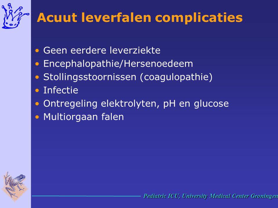 Acuut leverfalen complicaties Geen eerdere leverziekte Encephalopathie/Hersenoedeem Stollingsstoornissen (coagulopathie) Infectie Ontregeling elektrol