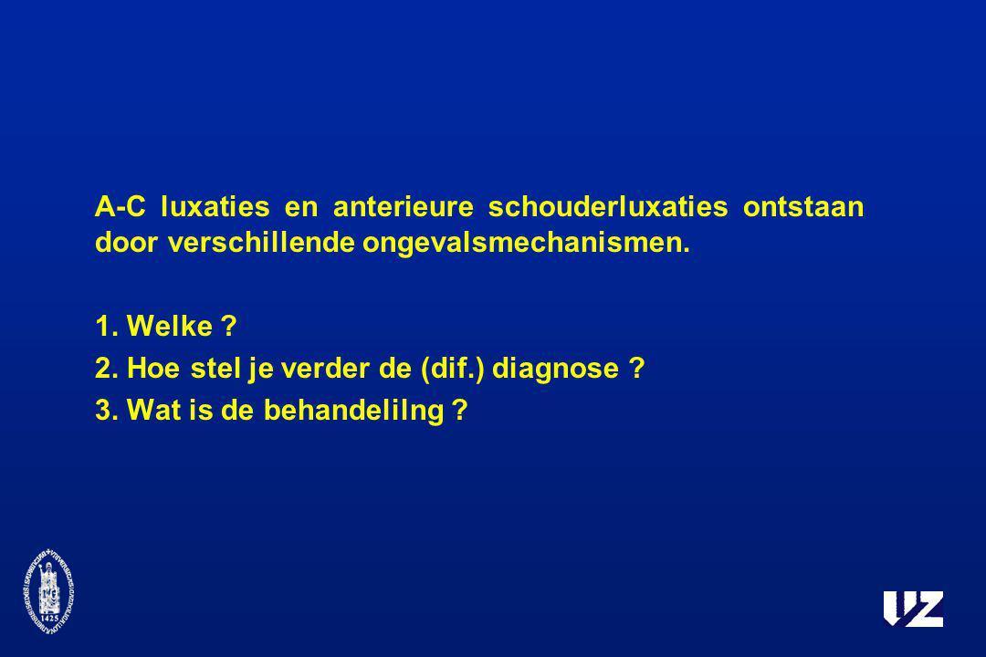 A-C luxaties en anterieure schouderluxaties ontstaan door verschillende ongevalsmechanismen. 1. Welke ? 2. Hoe stel je verder de (dif.) diagnose ? 3.