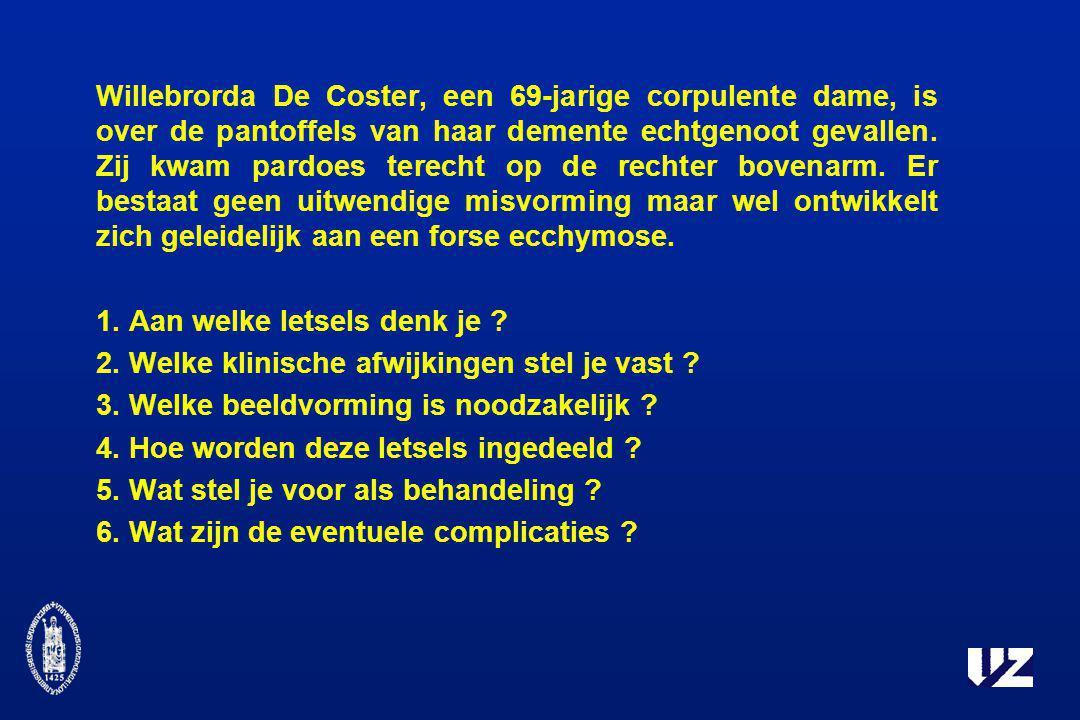 Willebrorda De Coster, een 69-jarige corpulente dame, is over de pantoffels van haar demente echtgenoot gevallen. Zij kwam pardoes terecht op de recht