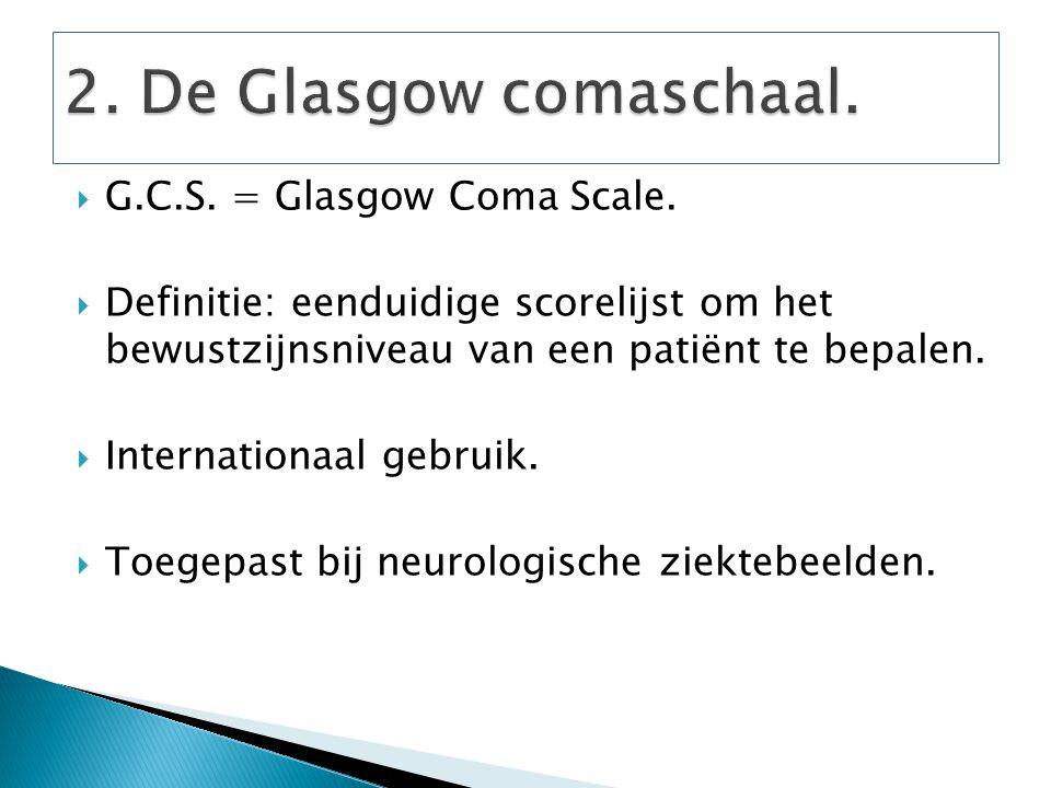  G.C.S. = Glasgow Coma Scale.  Definitie: eenduidige scorelijst om het bewustzijnsniveau van een patiënt te bepalen.  Internationaal gebruik.  Toe