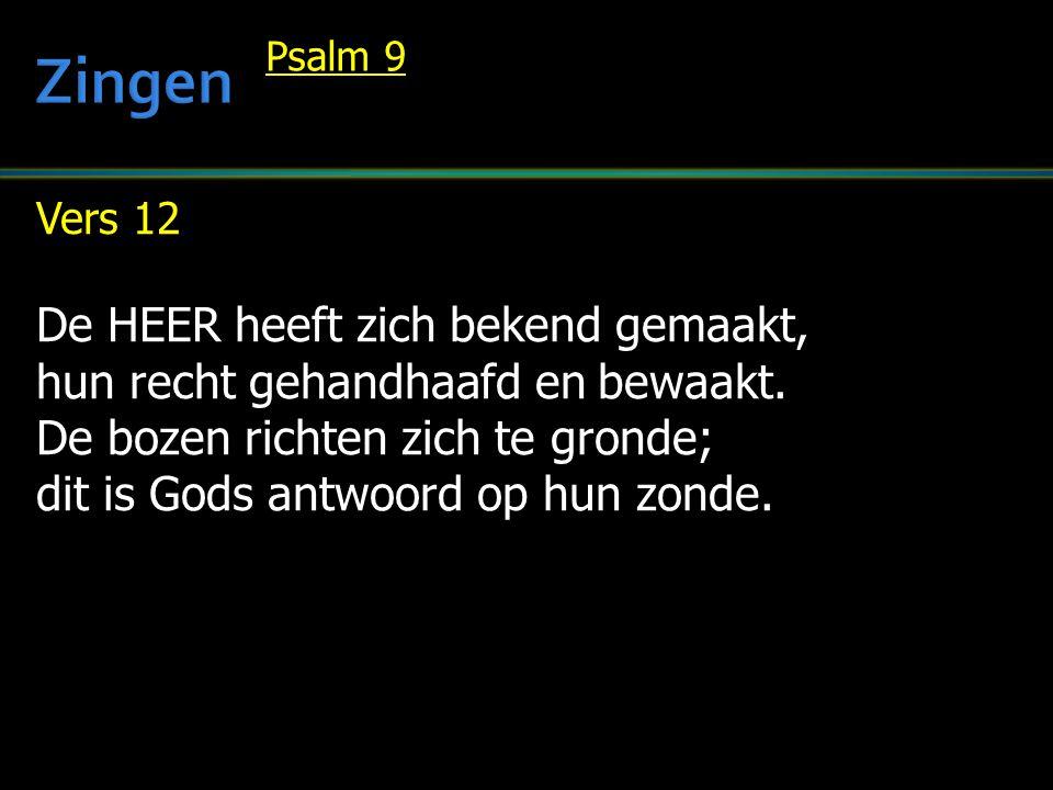 Vers 12 De HEER heeft zich bekend gemaakt, hun recht gehandhaafd en bewaakt. De bozen richten zich te gronde; dit is Gods antwoord op hun zonde. Psalm