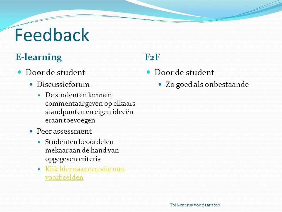 Feedback E-learning F2F Door de student Discussieforum De studenten kunnen commentaar geven op elkaars standpunten en eigen ideeën eraan toevoegen Pee