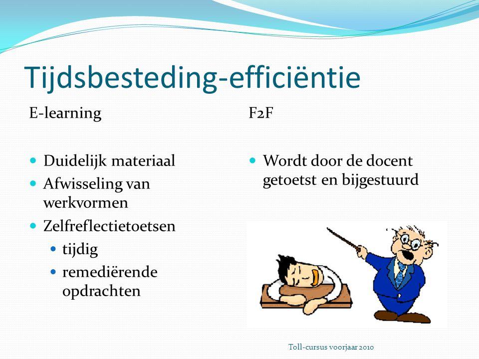 Tijdsbesteding-efficiëntie E-learning Duidelijk materiaal Afwisseling van werkvormen Zelfreflectietoetsen tijdig remediërende opdrachten F2F Wordt door de docent getoetst en bijgestuurd Toll-cursus voorjaar 2010