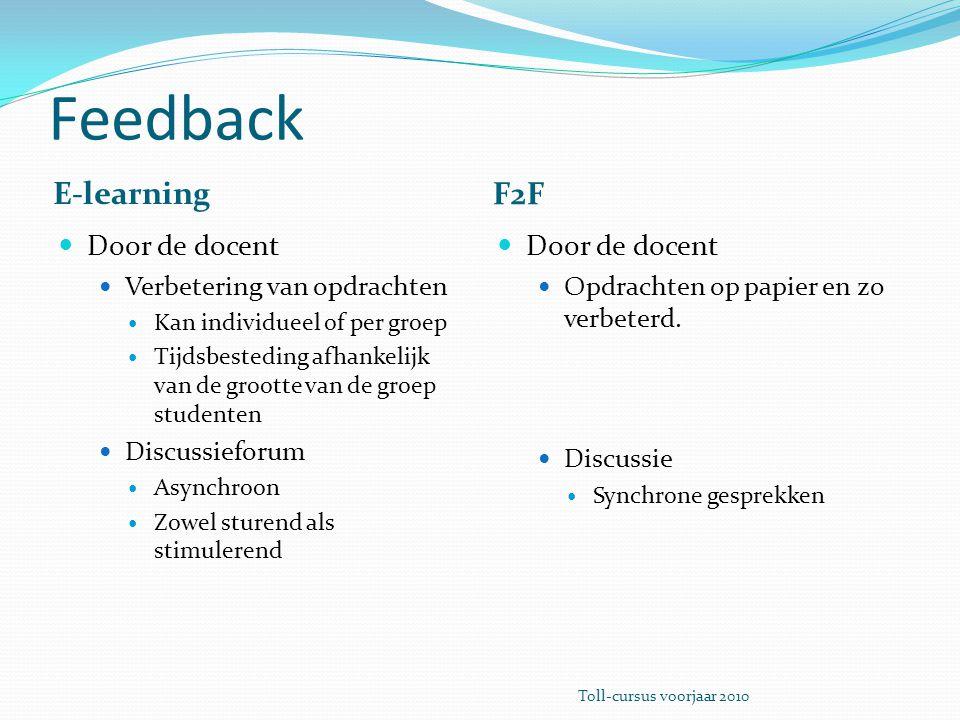 Feedback E-learning F2F Door de docent Verbetering van opdrachten Kan individueel of per groep Tijdsbesteding afhankelijk van de grootte van de groep