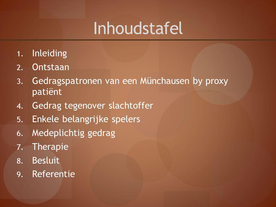 Inhoudstafel 1. Inleiding 2. Ontstaan 3. Gedragspatronen van een Münchausen by proxy patiënt 4. Gedrag tegenover slachtoffer 5. Enkele belangrijke spe
