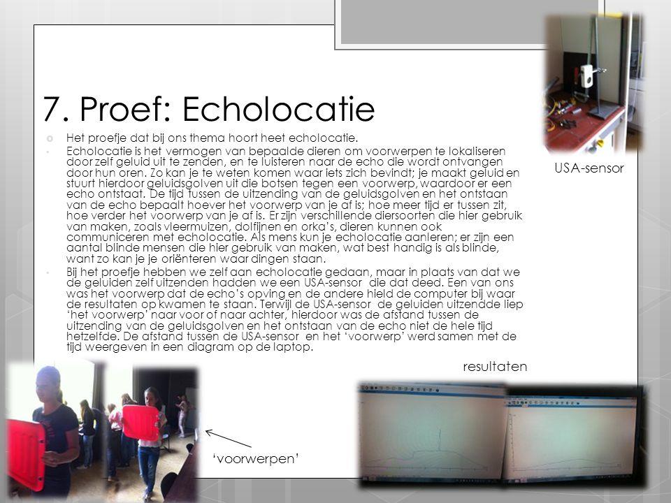 7. Proef: Echolocatie  Het proefje dat bij ons thema hoort heet echolocatie. Echolocatie is het vermogen van bepaalde dieren om voorwerpen te lokalis