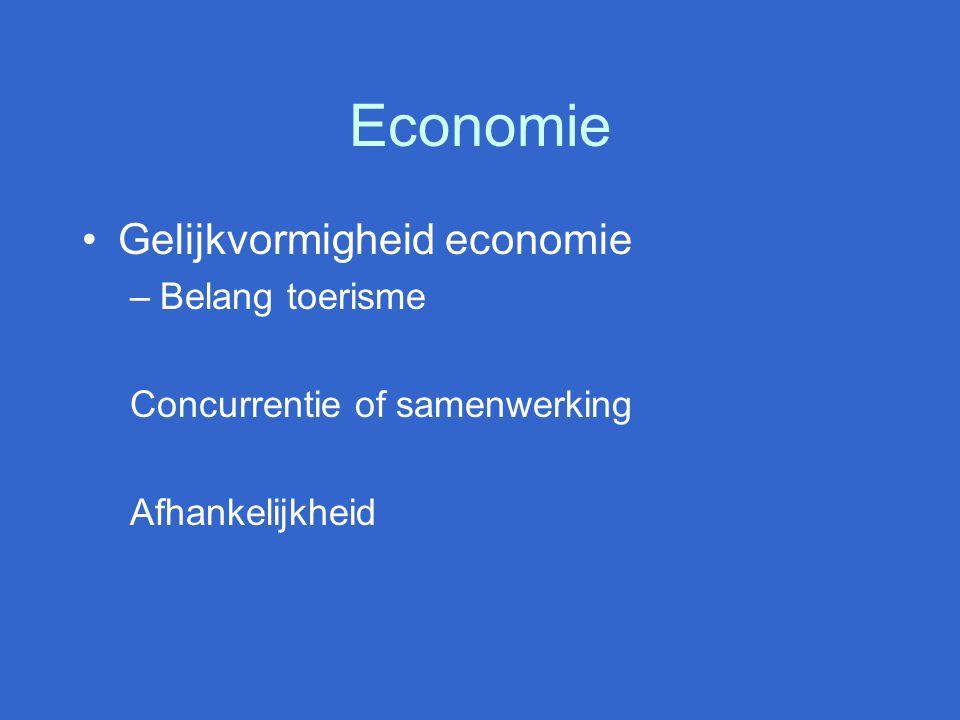 Economie Gelijkvormigheid economie –Belang toerisme Concurrentie of samenwerking Afhankelijkheid
