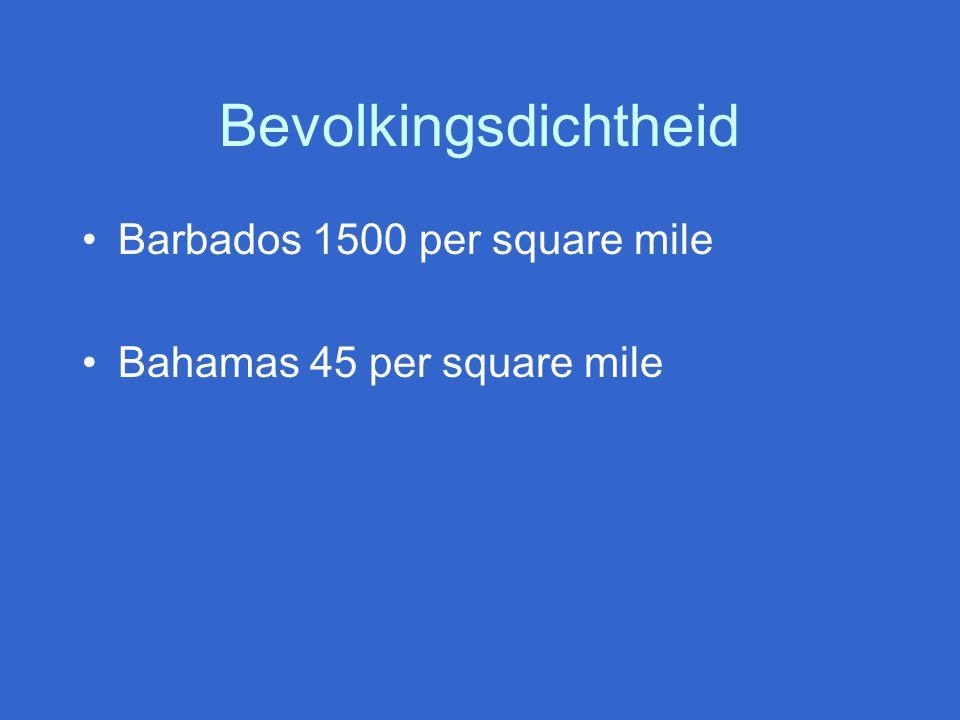 Bevolkingsdichtheid Barbados 1500 per square mile Bahamas 45 per square mile