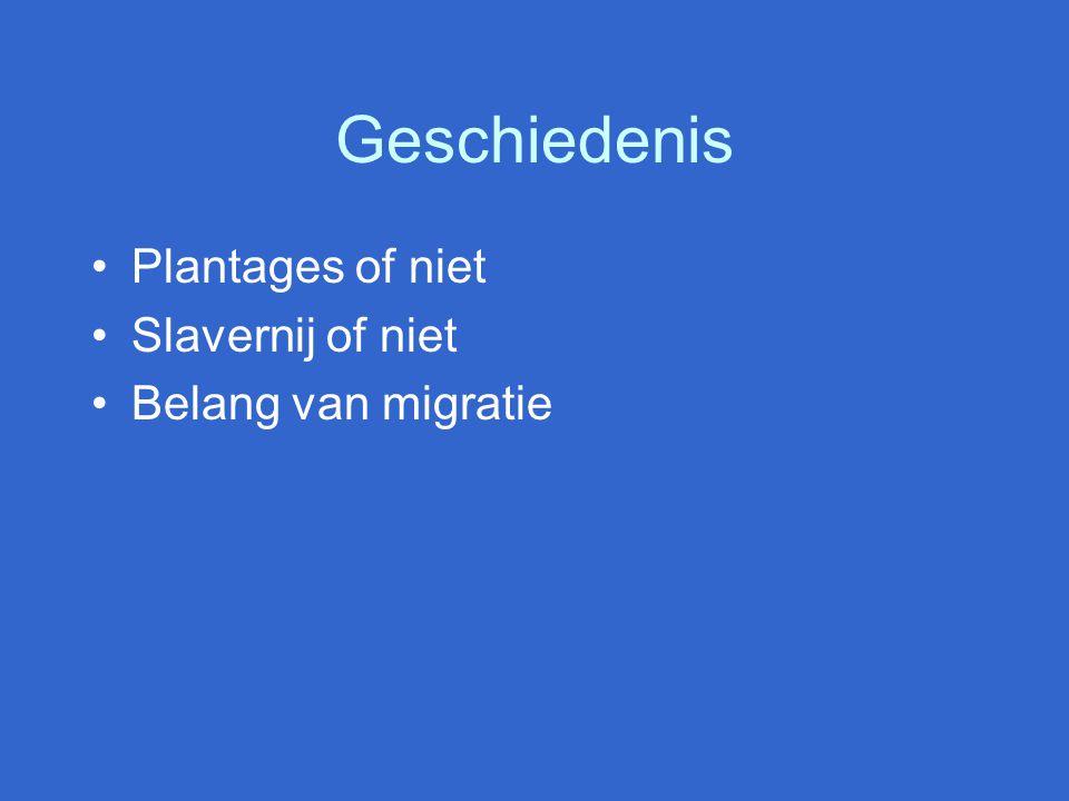 Geschiedenis Plantages of niet Slavernij of niet Belang van migratie