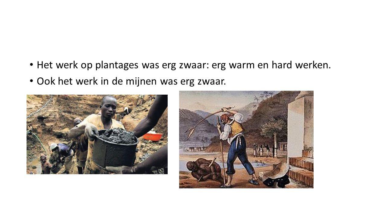Het werk op plantages was erg zwaar: erg warm en hard werken. Ook het werk in de mijnen was erg zwaar.