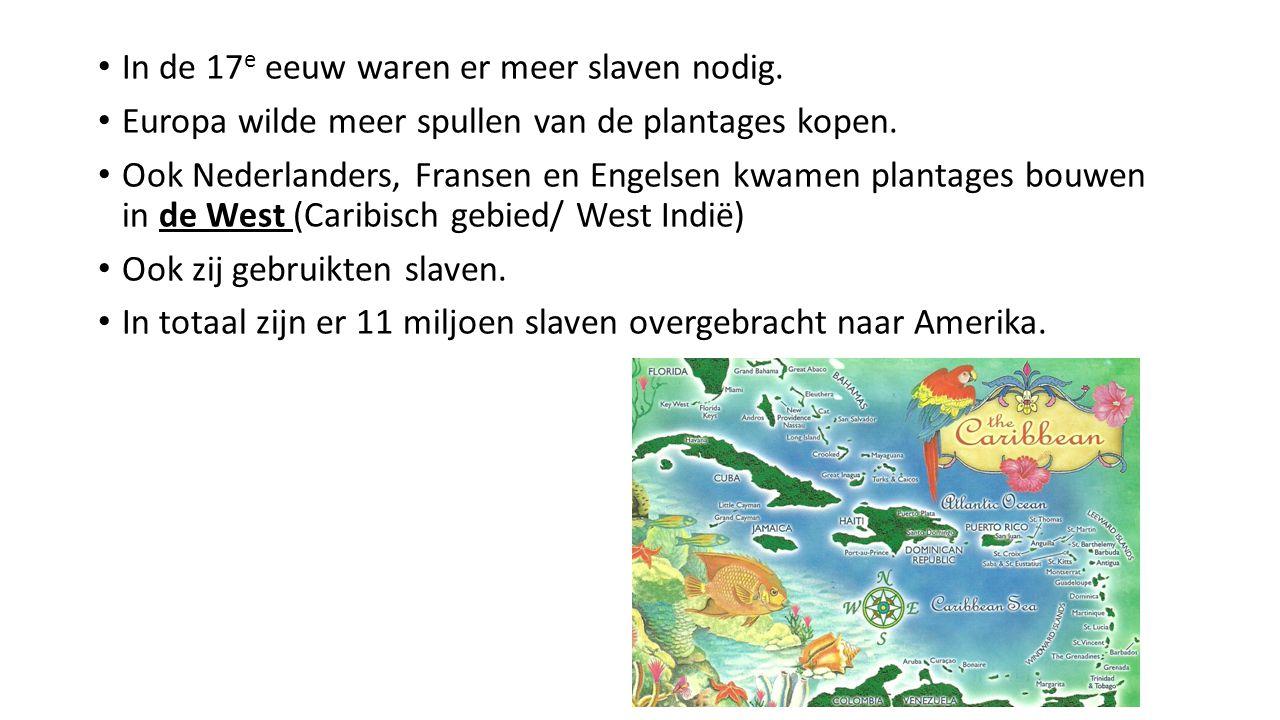 In de 17 e eeuw waren er meer slaven nodig. Europa wilde meer spullen van de plantages kopen. Ook Nederlanders, Fransen en Engelsen kwamen plantages b