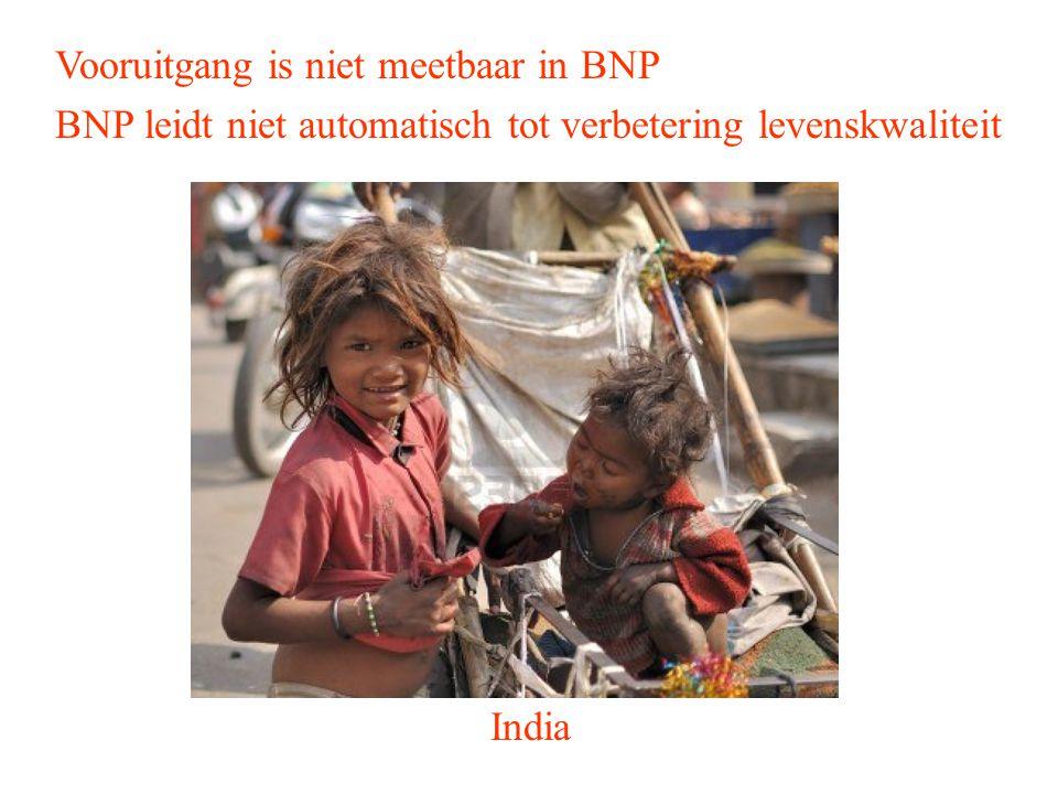 Vooruitgang is niet meetbaar in BNP BNP leidt niet automatisch tot verbetering levenskwaliteit India
