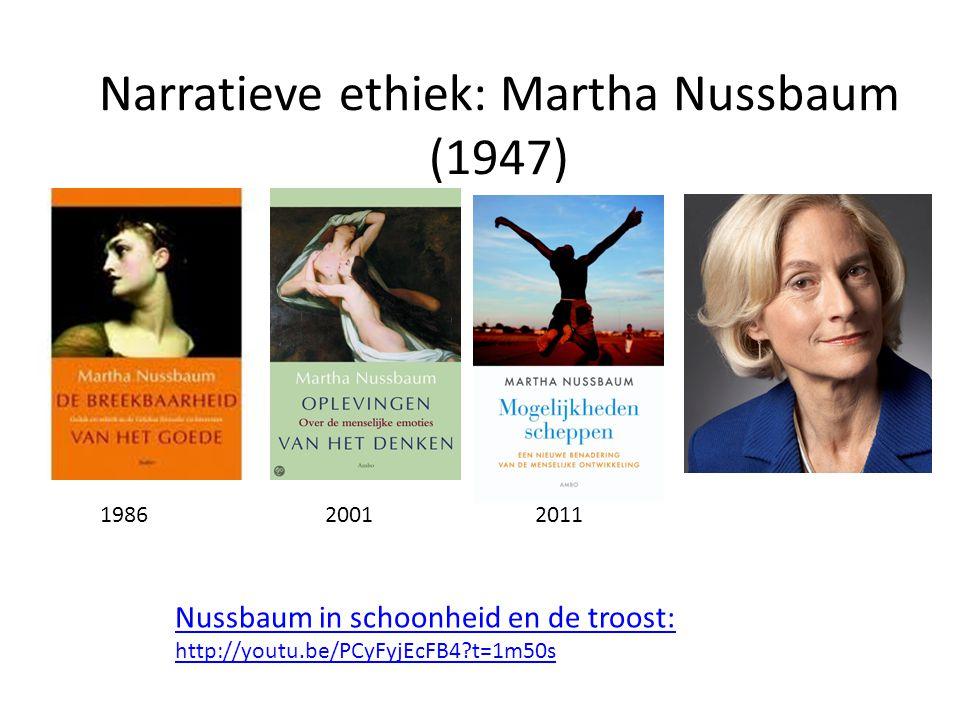 Narratieve ethiek: Martha Nussbaum (1947) 198620012011 Nussbaum in schoonheid en de troost: http://youtu.be/PCyFyjEcFB4?t=1m50s