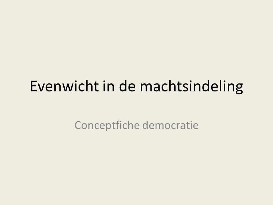 Evenwicht in de machtsindeling Conceptfiche democratie