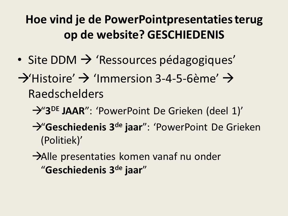 Hoe vind je de PowerPointpresentaties terug op de website.