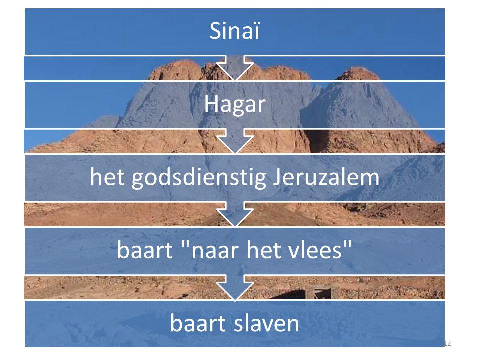 baart slaven baart naar het vlees het godsdienstig Jeruzalem Hagar Sinaï 12