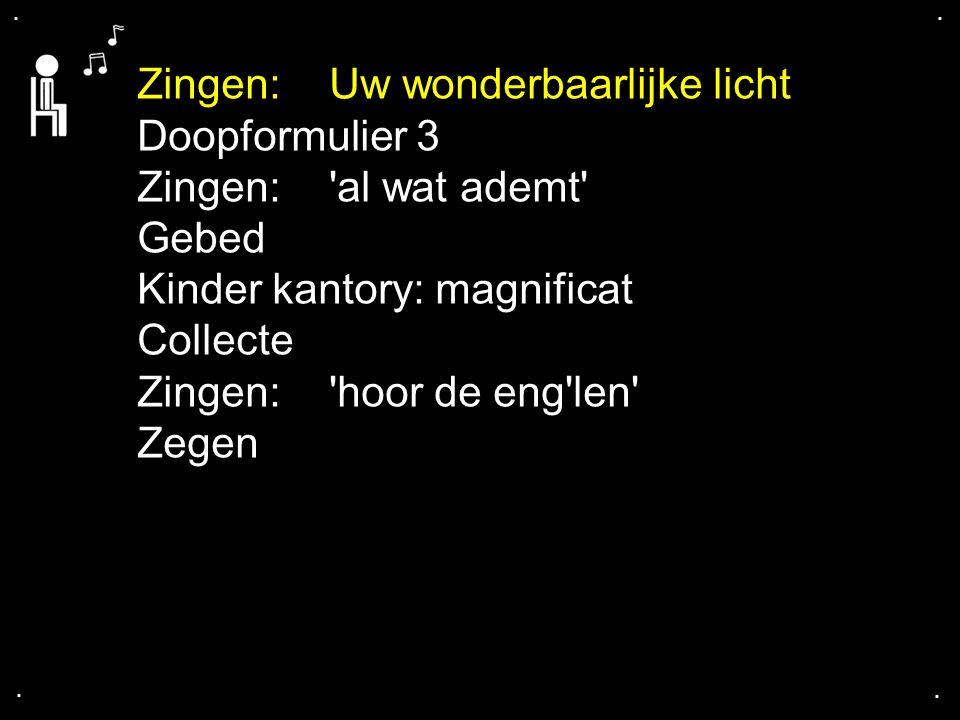 .... Zingen:Uw wonderbaarlijke licht Doopformulier 3 Zingen:'al wat ademt' Gebed Kinder kantory: magnificat Collecte Zingen:'hoor de eng'len' Zegen